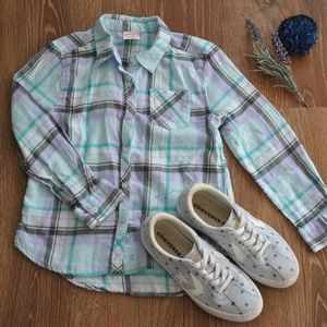 Girls Plaid Button-down
